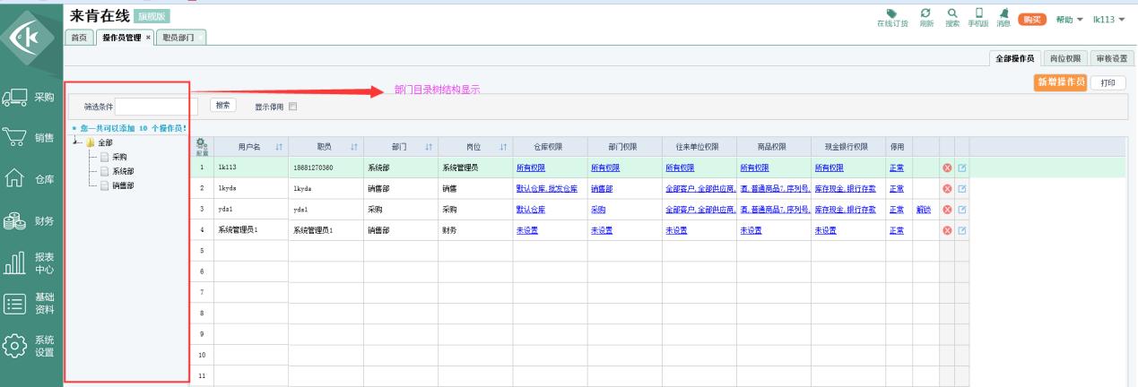 订货账号页面左侧新增树形结构